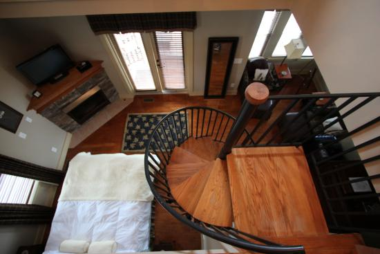 Salem, SC: View down spiral staircase from the loft