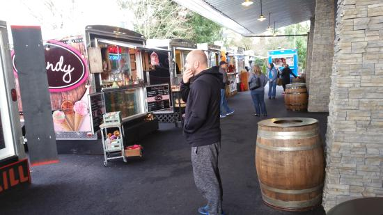 Happy Valley Station showing food carts