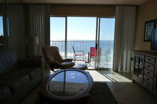 Sea Oats Condominiums: This is why I love Sea Oats Oceanfront rooms sit on couch and watch the waves