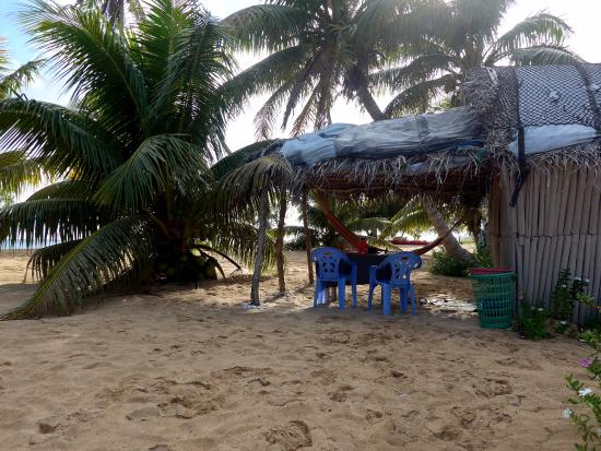 Uoleva Island, Tonga: our fale with hamaka and table with chairs