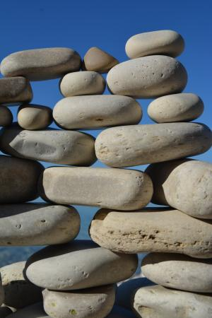 Washington Island, WI: Stacked stones, Schoolhouse Beach