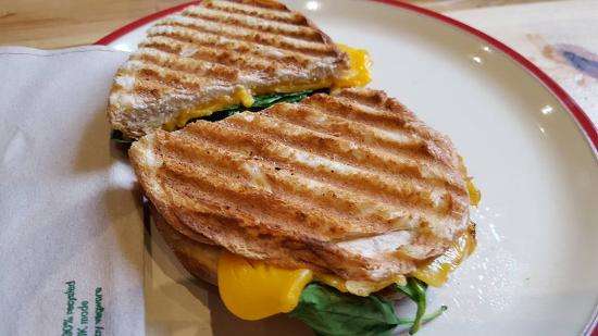 Gloucestershire, UK: Sourdough toastie - Vegan cheese, tomato and spinach