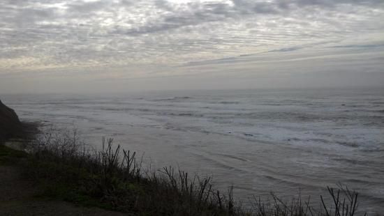 Moss Beach, CA: Looking south from the Distillery towards Mavericks