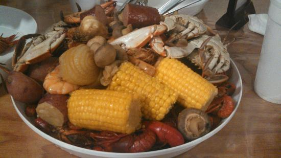 Belle Chasse, LA: All you can eat boiled seafood platter - Crawfish, shrimp & blue crab. Sides includes red potato