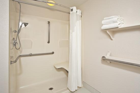 Harrington, DE: Roll-in hand held shower with a fold down seat