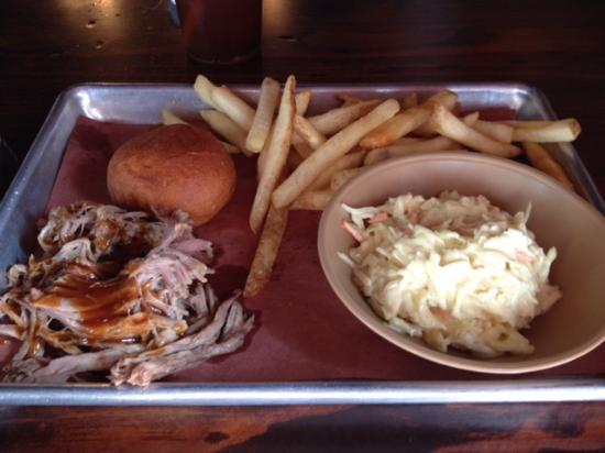 Forrest City, AR: Pulled chicken, fries & cole slaw.