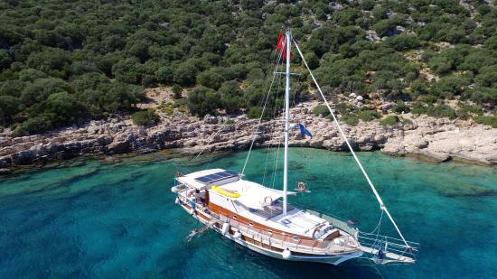 Gulet-Evita-From-sky - Picture of Boat Trips by Captain Ergun, Kas - TripAdvisor