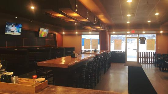 Peace River, Canada: beautiful Interior with handmade pine bar tables