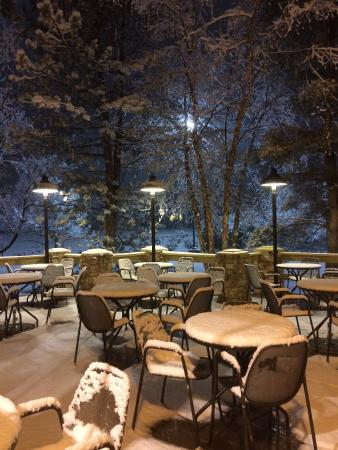 Lake Bluff, IL: First snow on the deck.