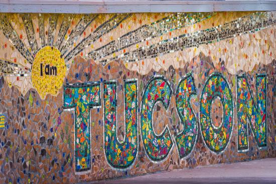 Public art abounds in Tucson, including this mural in the heart of downtown, created by the char