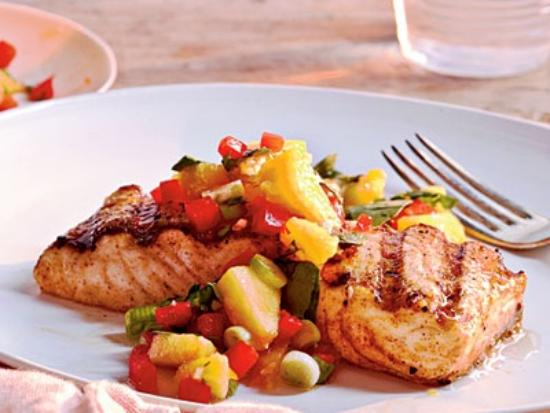 Essex, NY: Broiled Artic Char with mango salsa