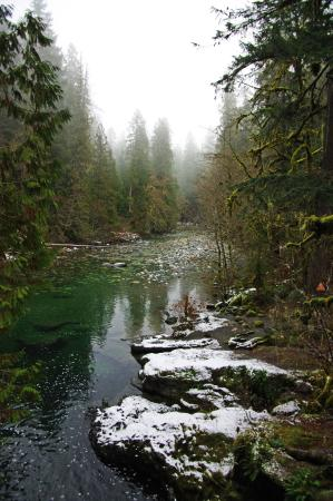 Nanaimo, Canada: River and swimming hole at the base of the lower falls