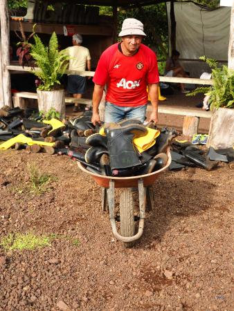 Santa Cruz, Ecuador: Boots being hauled off for cleaning. Don't forget to bring long socks!