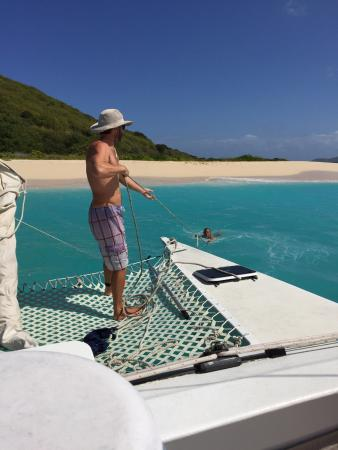 Christiansted, St. Croix: Pulling up anchor at Buck Island