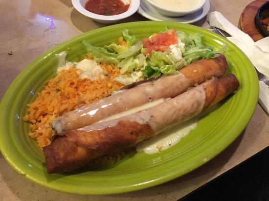 Waldorf, MD: Flautas covered in Queso blanco