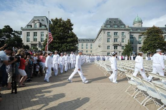 U.S. Naval Academy: The Naval Academy on Induction Day. Plebes are getting in formation to be sworn in