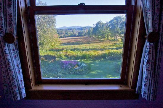 Mount Holly, VT: View from guestroom with ensuite bath