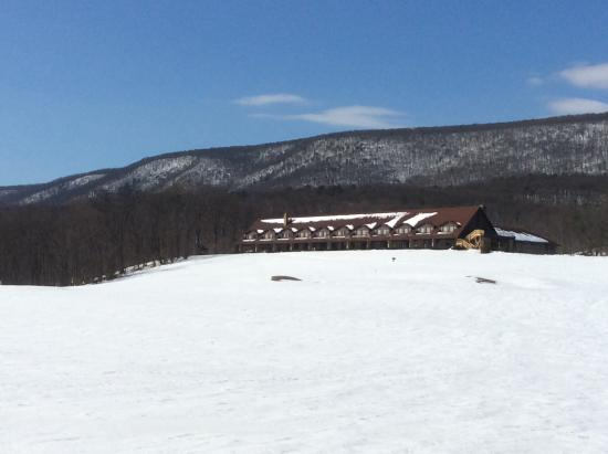 Cacapon Resort State Park: The lodge at a distance, golf course side.