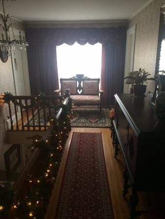 Bethel, ME: At the top of the stairs is a cat walk with 2 rooms on each end.