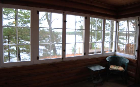 Manitowish Waters, WI: View from Lakeview cabin's three season porch.