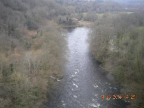 Wrexham, UK: view of the River Dee from the aqueduct
