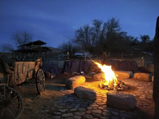 Meadview, AZ: As the sun goes down, the fire goes up. S'mores, stars and songs.