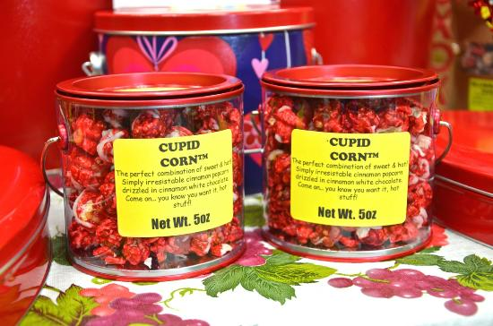 Tavernier, FL: Cupid Corn- Red-Hot Cinnamon candy flavored Popcorn drizzled with White Chocolate