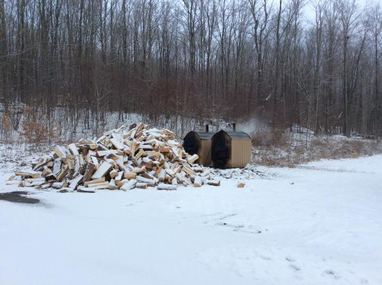 Margaretville, NY: Wood pile used for heating hot water Gym/Exercise area