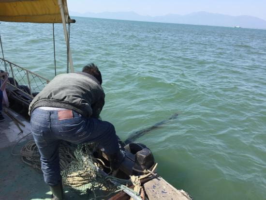 Yangjiang, China: fish catching out in the sea.