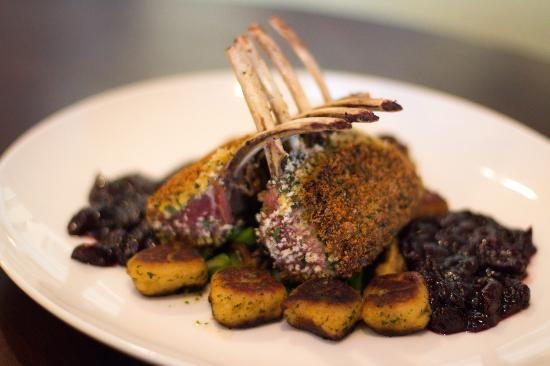 Introducing our Herb Encrusted Lamb over Gnocchi. It is a full rack of marinated lamb pan seared