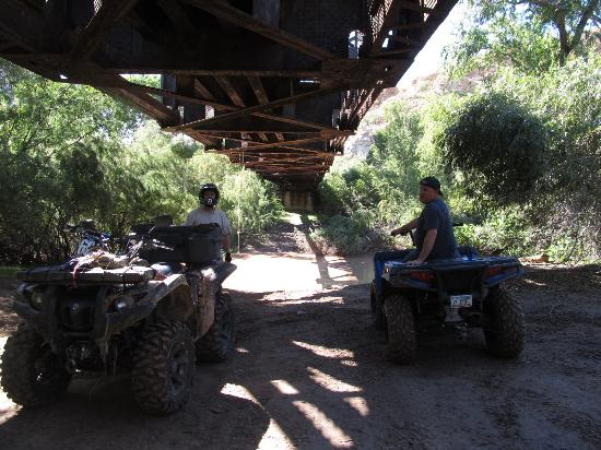 Under the railroad trestle at the Gila River east of Florence. Moderate trail. Very scenic. Good
