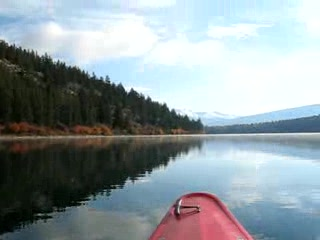 The peace and calm of the lake while kayaking