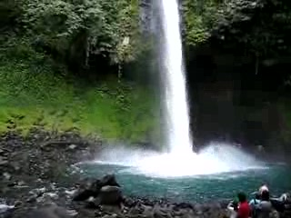 At the bottom of La Fortuna waterfall