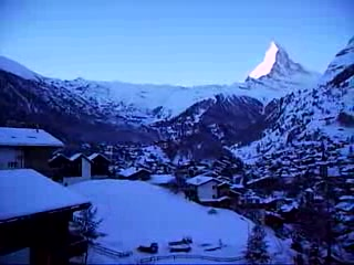 Swiss Alps, Switzerland: Matterhorn and Zermatt from Grand Hotel Schoenegg