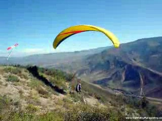 Paragliding off Bellyache Ridge