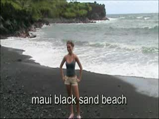Hana, Hawa : Maui Beaches - Black Sand Beach &amp; Lava Tube 