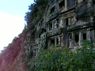 Fethiye, Trkei: view of tombs with call to prayer