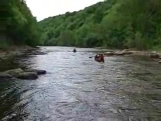 Some cutomers passing through the rapids at Symonds Yat