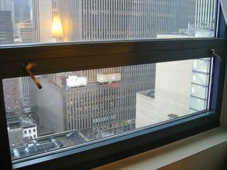 Doubletree Times Square highrise windows open...