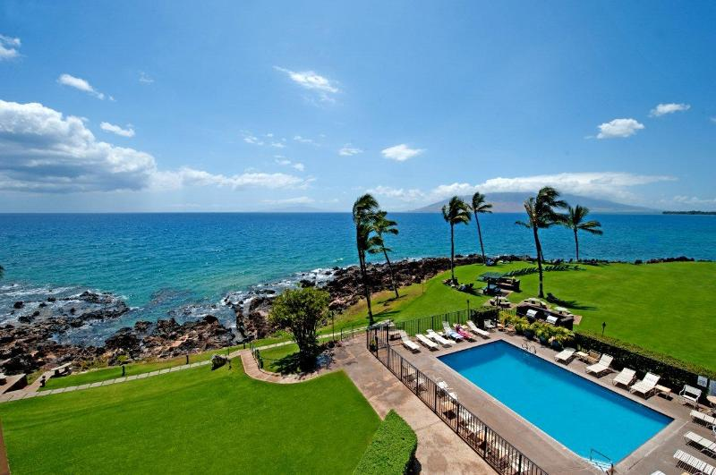 This is the view from your lanai of your oceanfront Kihei Surfside condo!