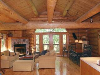 LOG HOME with fireplace retreat near all!