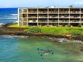 Kuhio Shores 106, 1st floor bay-side, on the beach