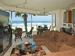 Stunning ocean front suite- panoramic views, gourmet kitchen, fireplace, w/d