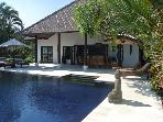 Exotic beach villa in Bali with swimming pool