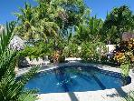 Beachfront rustic luxury villa, pool, gazebo, BBQ, hammocks, WiFi, sleeps 4-8