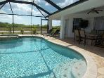 Sunset View - 3/br 2/ba electric heated pool and spa home, North West Cape Coral, WHS Internet, quiet neighborhood,