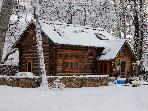 Experience the winter magic of Pecos River Cabin!