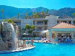 Relaxing Palm Springs resort with pool, waterslides, and spa near area attractions