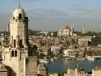 next to galata tower, views from shared terrace