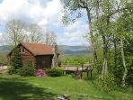 Mountaintop Log Cabin w Hot Tub & Gorgeous Views